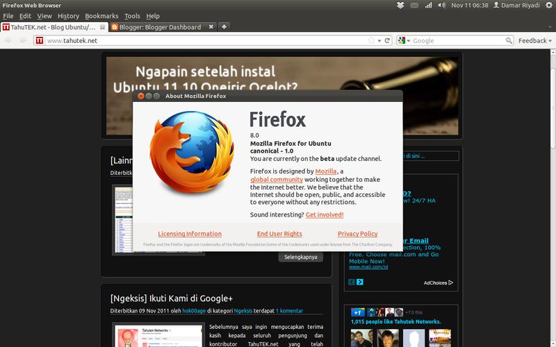 Mozilla Firefox 8 di Ubuntu 11.10 Oneiric Ocelot