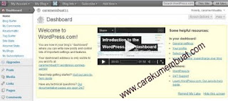 dashboard blog di wordpress