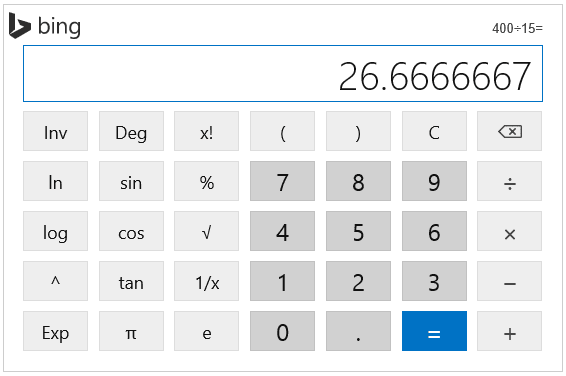 Bing Calculator on Search Page