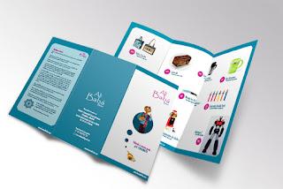 Tríptico catálogo de productos de Bazar Alí Babá. Realizado con Illustrator