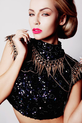 Models test shots for colours agency glasgow, glamorous jewelled clothes and sleek hair and contoured makeup