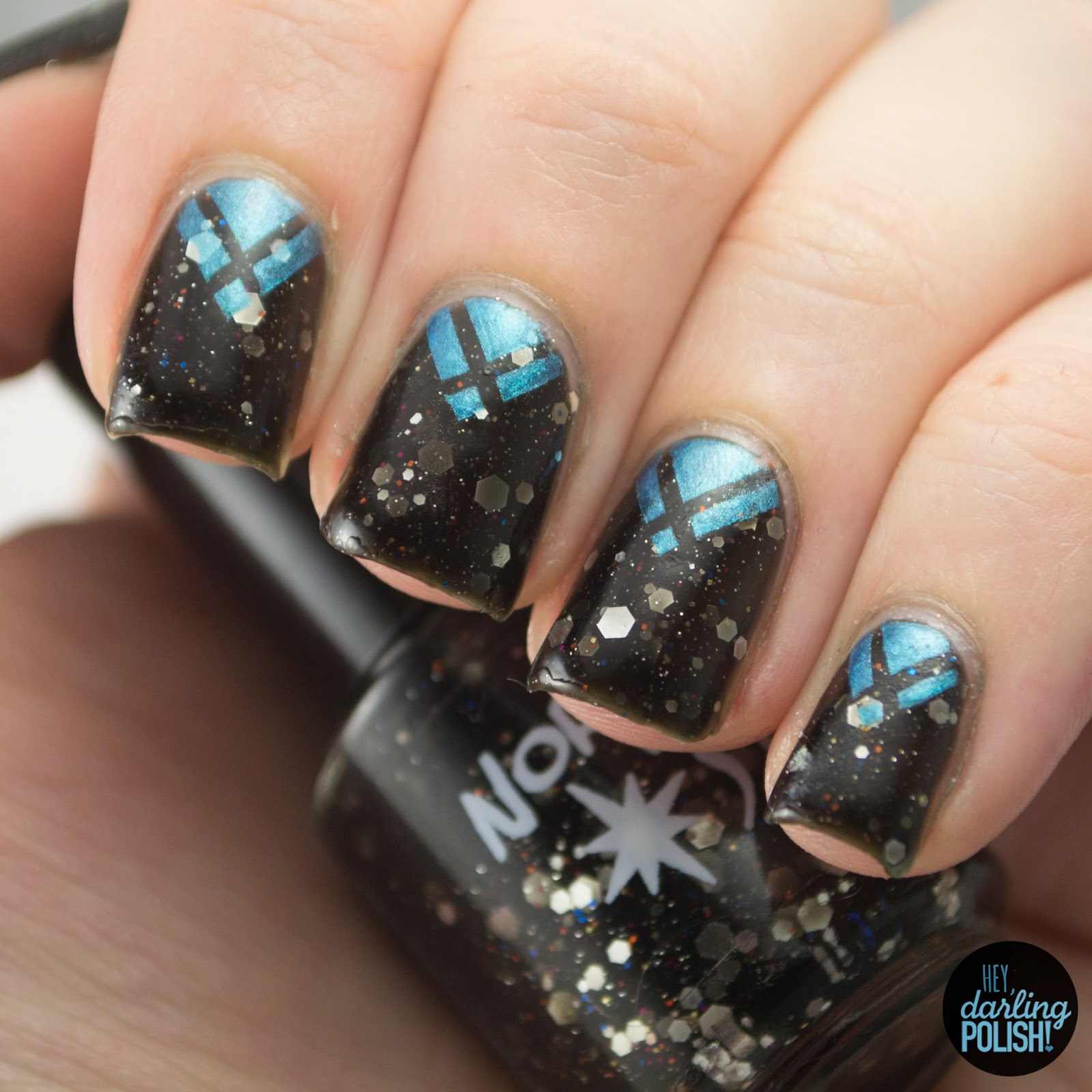 nails, nail art, polish, nail polish, northern star polish, black, glitter, indie, indie polish, chevron, triangles, julep, hey darling polish, golden oldie thursdays