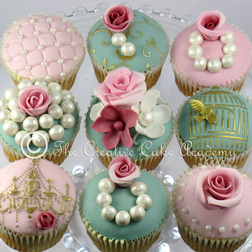 The Creative Cake Academy VINTAGE CUPCAKES ROSES AND PEARLS