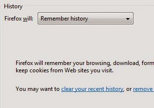 Remove browsin history in firefox