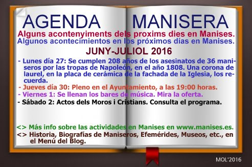 AGENDA MANISERA, SEMANA 26 DE 2016