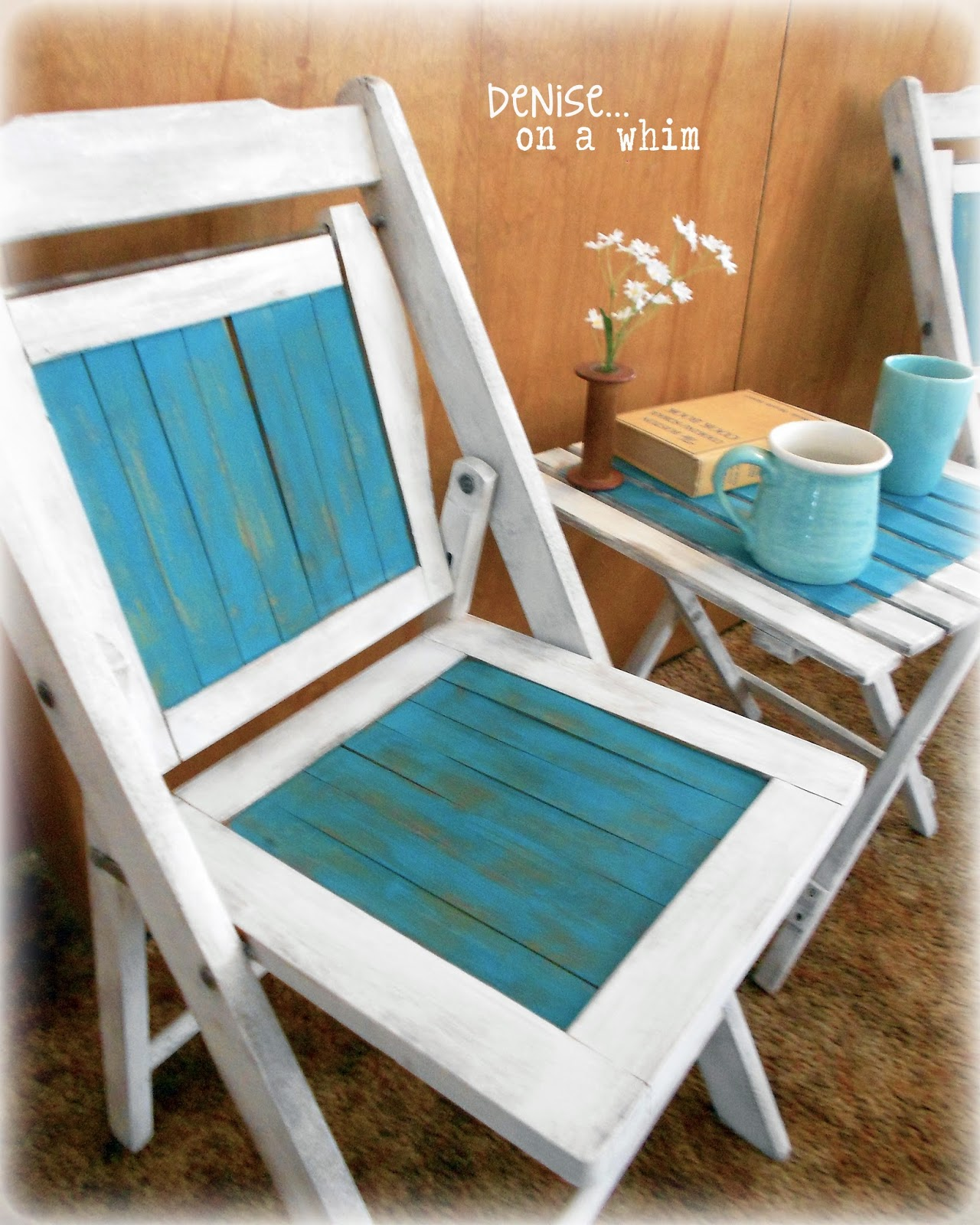 Vintage wooden folding chair painted in vintage white and peacock via http://deniseonawhim.blogspot.com