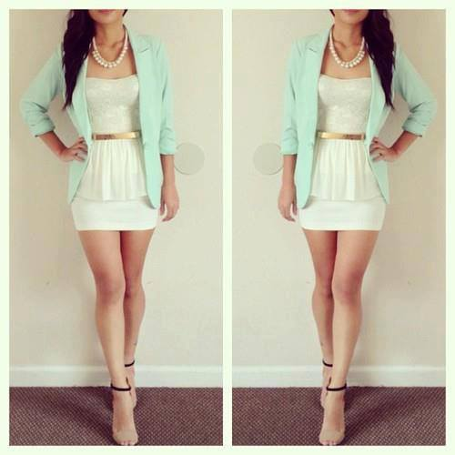 Light green jacket and white blouse for ladies