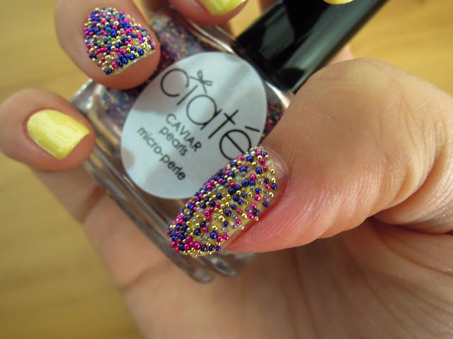 caviar ciate pearls colour rainbow blue pink yellow beads nail polish art