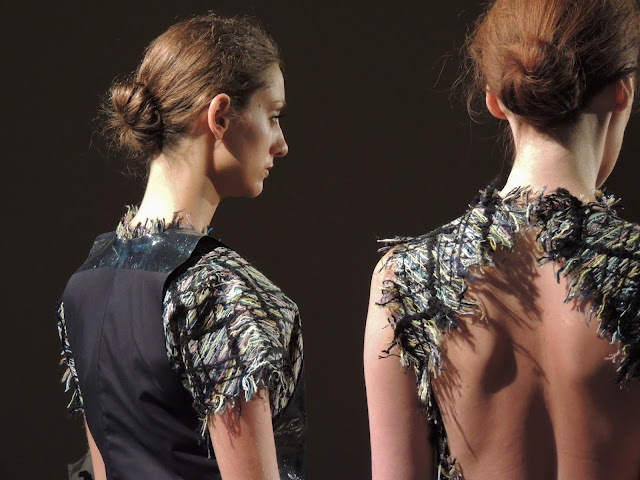Jacquard patterns and frayed hems for spring