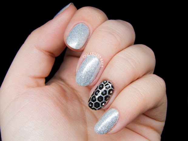 silver honeycomb glitter placement