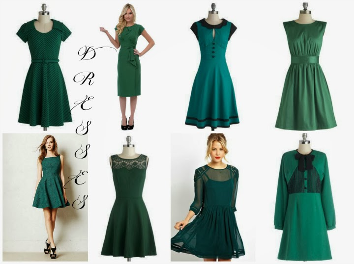 green dress wishlist, evergreen, holiday dress wishlist, Modcloth, Unique Vintage, Anthropologie, A Coin For the Well