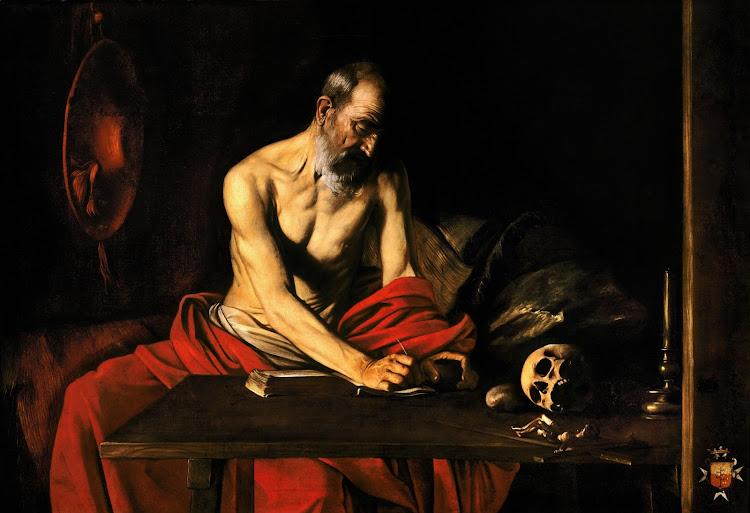 Caravaggio - Saint Jerome Writing (1607)