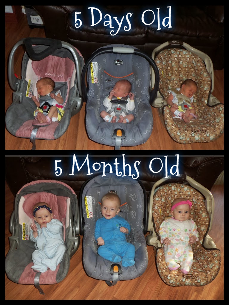 Triplets + Toddler: Then and Now: 5 Months Old