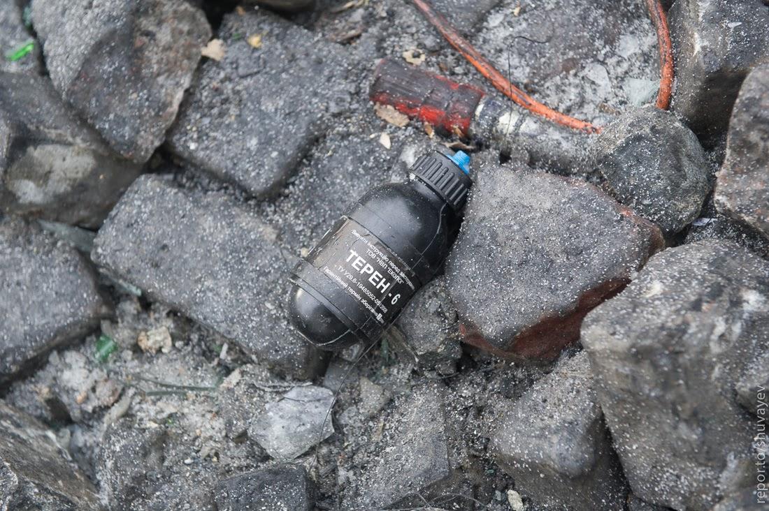 гранатами со слезоточивым газом и светошумовые гранаты.