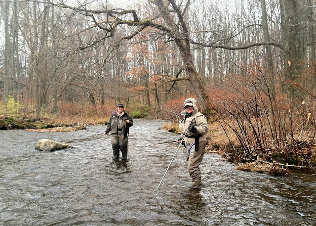 Sam Decker and Demetre Bove on the Salmon River, Douglaston Salmon Run