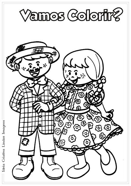 Desenho de Festas Juninas para colorir