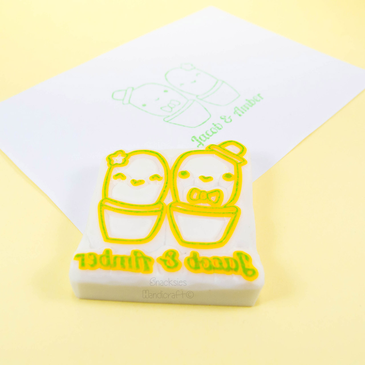 Cactus Couple Rubber Stamp