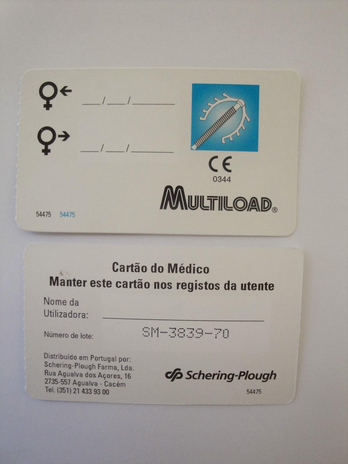 Cartões Multiload com lote e data de remoção