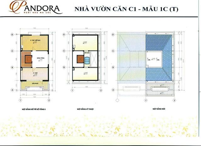 biệt thự pandora mẫu 1C tầng 5 và mái