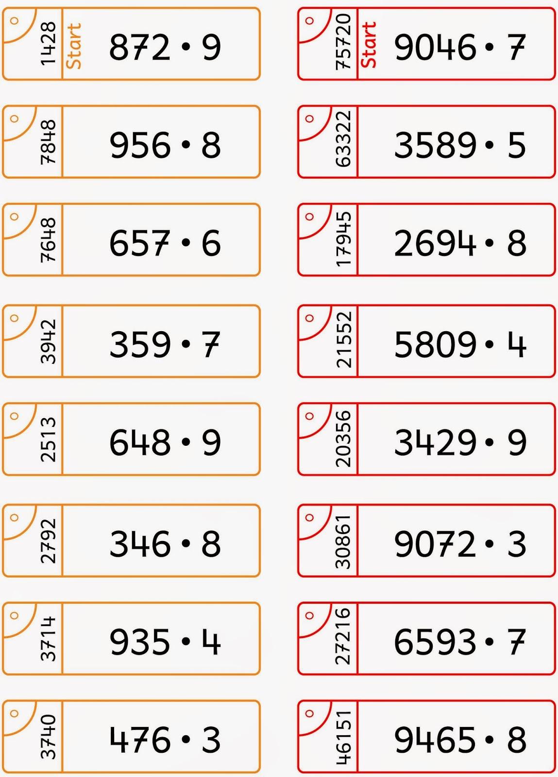 Lernstübchen: Schriftliche Multiplikation Übungsfächer (1)