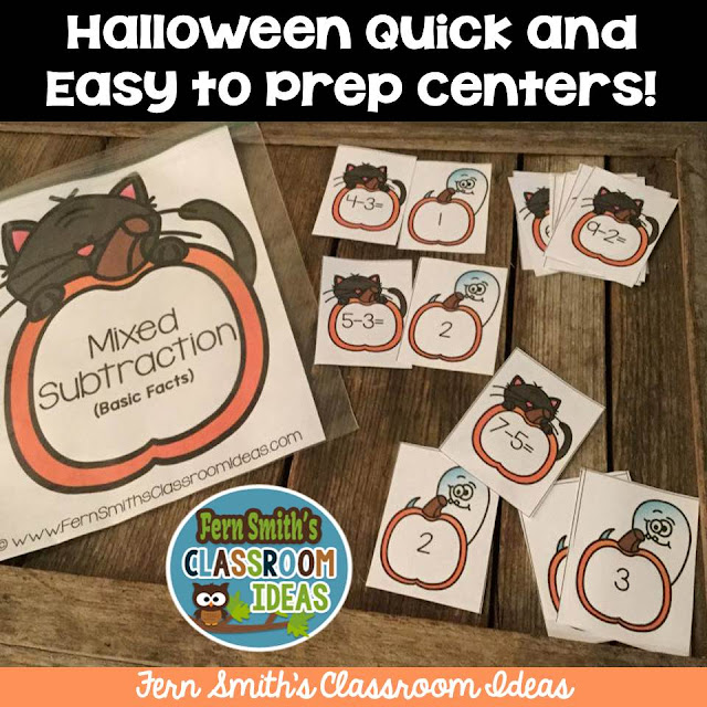 Fern Smith's Classroom Ideas Quick and Easy to Prep Halloween Centers at TeacherspayTeachers.