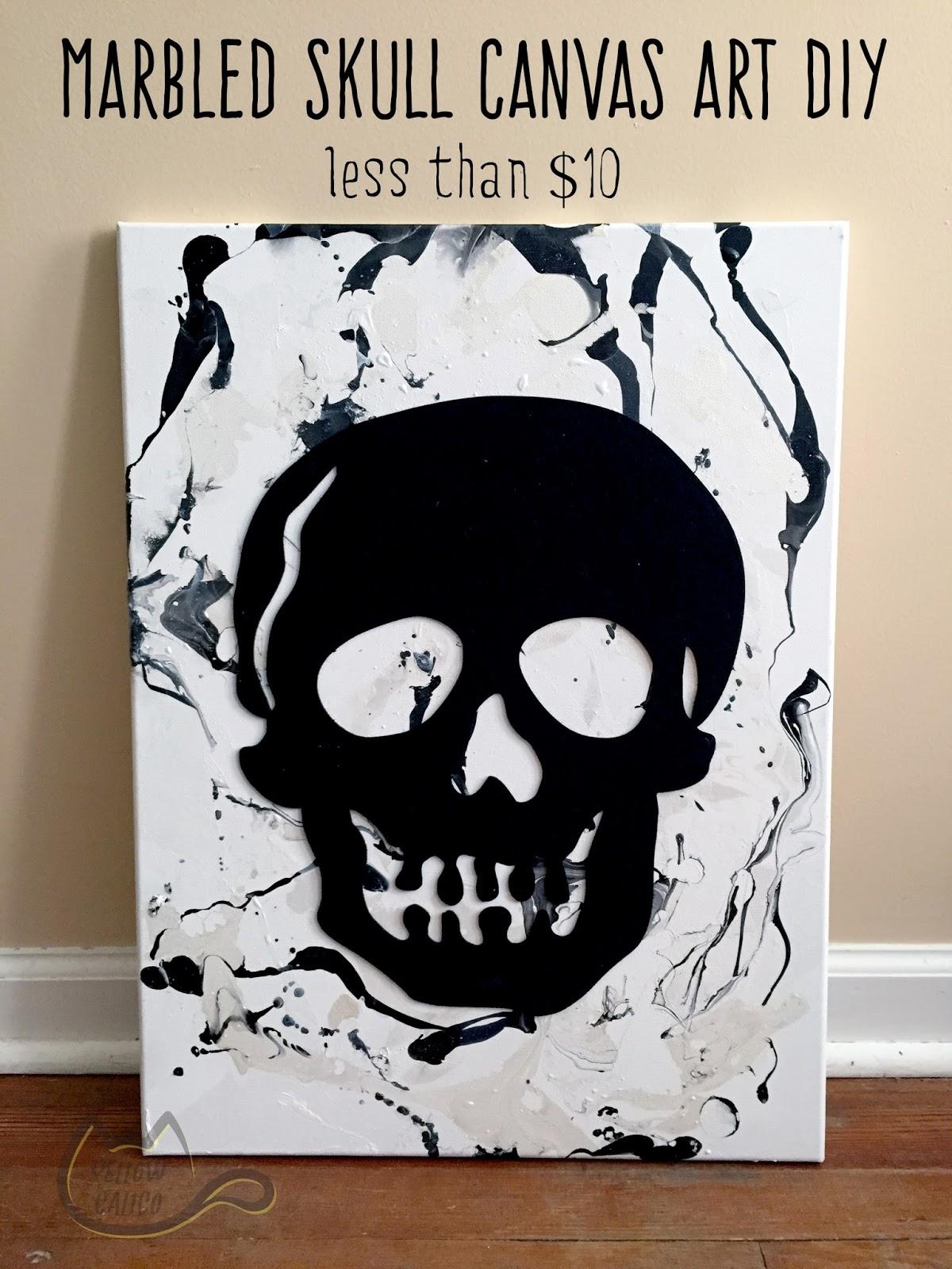 Marbled skull canvas art diy