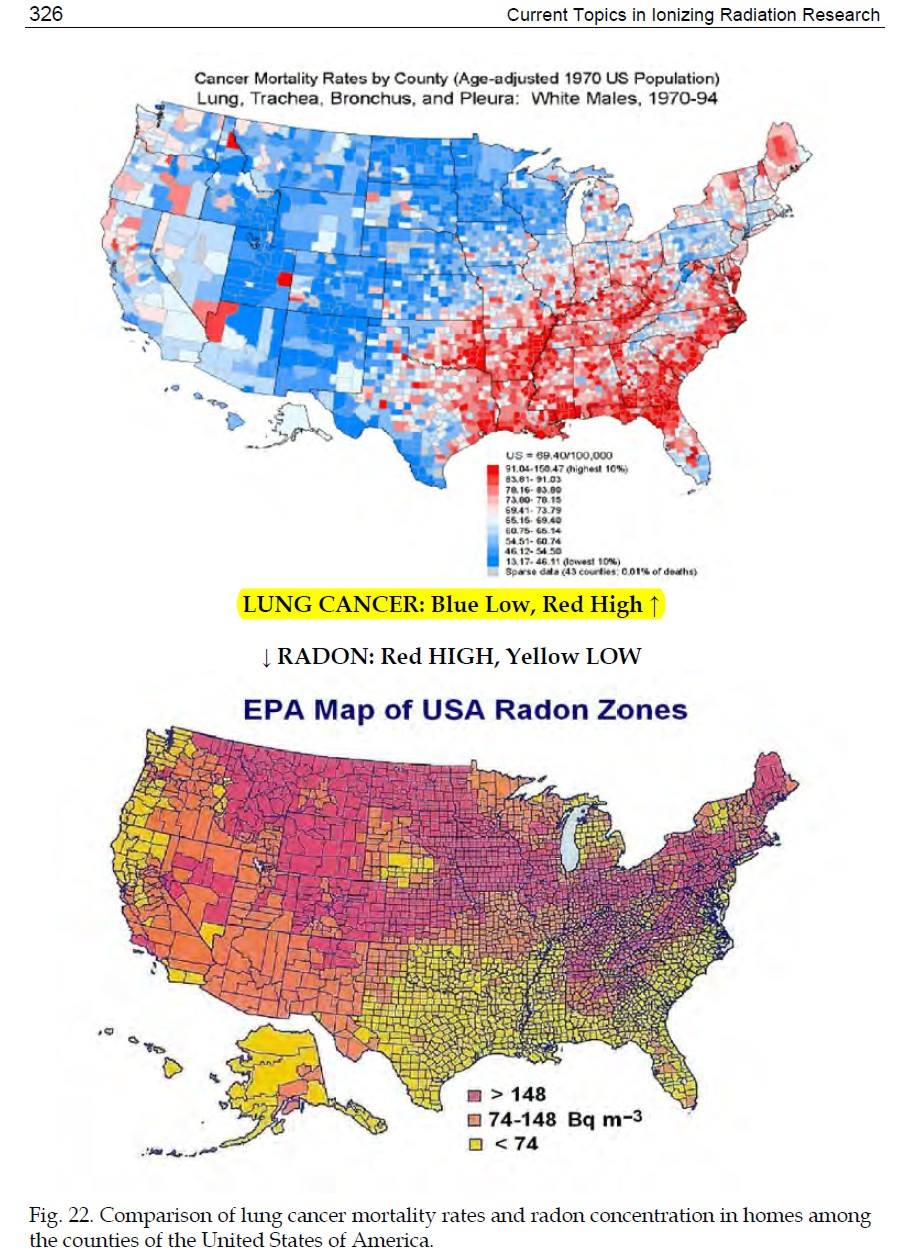 if anything a map of the usa shows a negative correlation between radon concentration and lung cancer