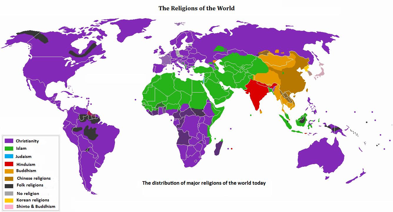 mapa - Mapa das Religiões Religion_distribution