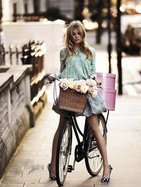 beach cruiser girl with bike