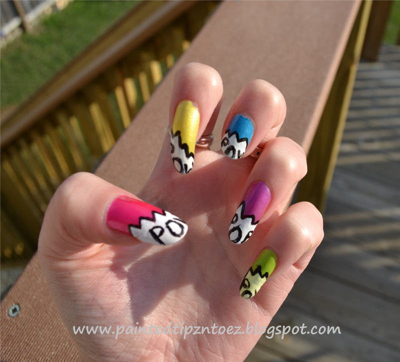 Hand Painted Nail Art Designs: Painted Tipz N' Toez: POW!! Hand-painted Nail Design