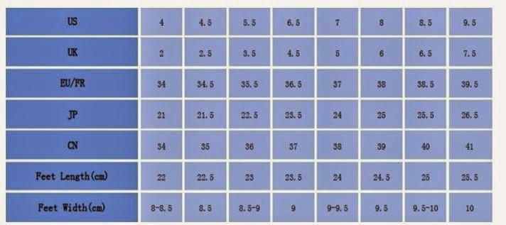 Tabela de medidas de conversão de sapatos femininos: Comprando Sapatos na China!