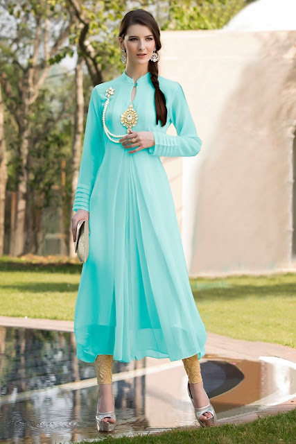 Sky Blue Georgette Party Wear Kurti With Stone Work