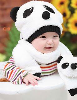Topi Bayi dengan Syal Yang Hangat Berbentuk Panda