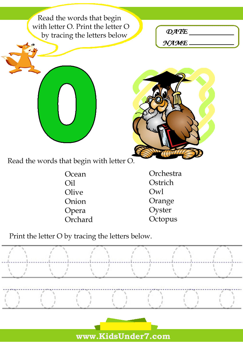 Worksheet Words That Start With O For Kids kindergarten words that start with the letter o trace kids under 7 alphabet worksheets and print o