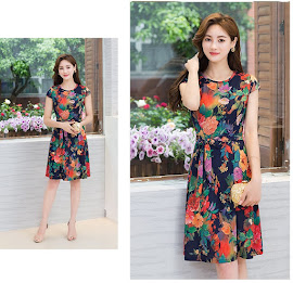 2018 10-Design Casual Plus Size Waist Ribbon Smooth Short Cotton Dress