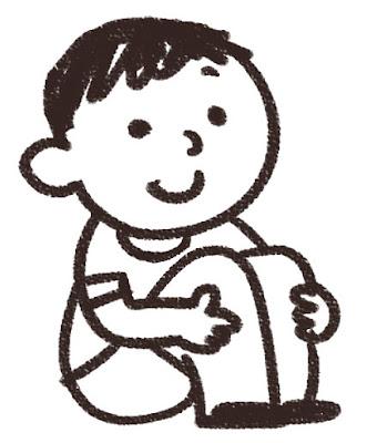 体育座りのイラスト「男の子」 白黒線画
