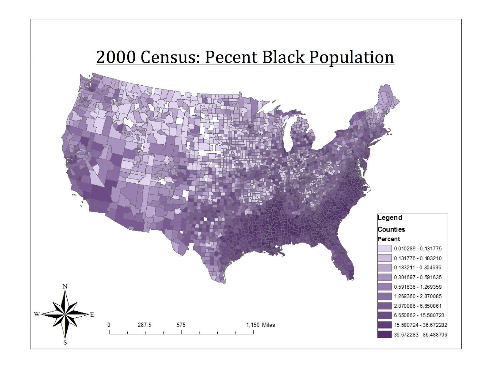 this map represents the counties with the highest percent of blacks in the united states we can clearly see that the south is the region with the most