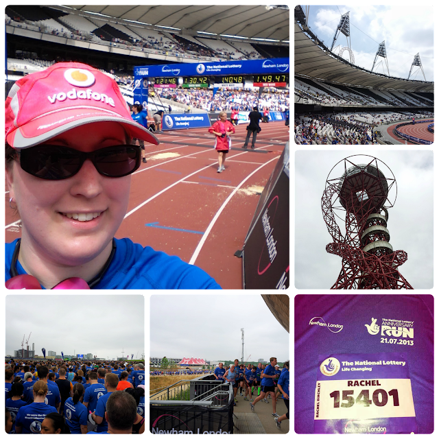 The National Lottery Anniversary Run 2013 took place at the Queen Elizabeth Olympic Park, with the last 300m run on the track inside the stadium.