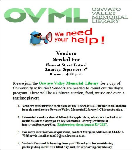 9-9 Vendors Needed For Fall Festival