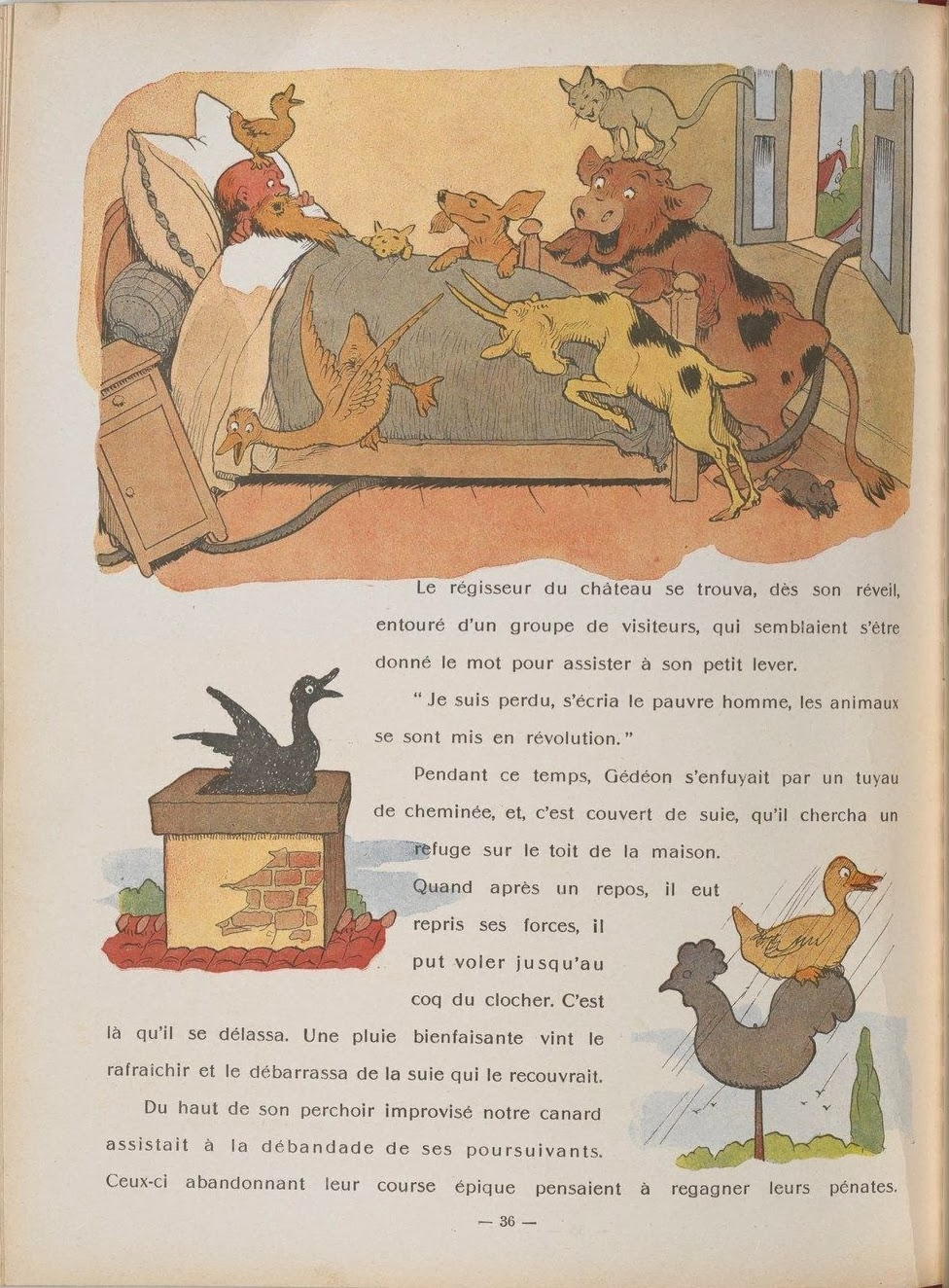 cartoon animal vignettes: main one with old man in bed surrounded by laughing farm animals
