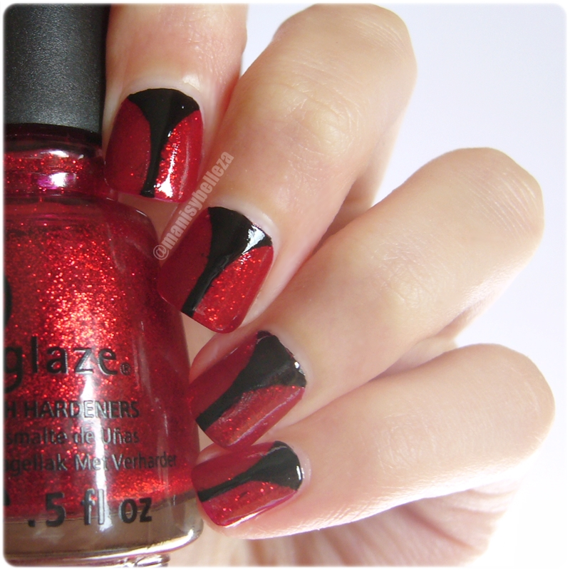 Tutorial nail art facil sencillo Halloween elegante easy nails Ruby Pumps China Glaze