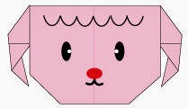 Bước 9: Vẽ mắt, vẽ mũi, vẽ mồ để hoàn thành cách gấp mặt con cừu bằng giấy origami.