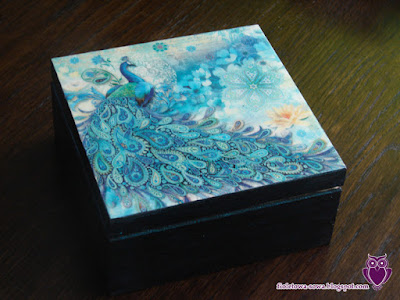 Decoupage tea boxx with peacock