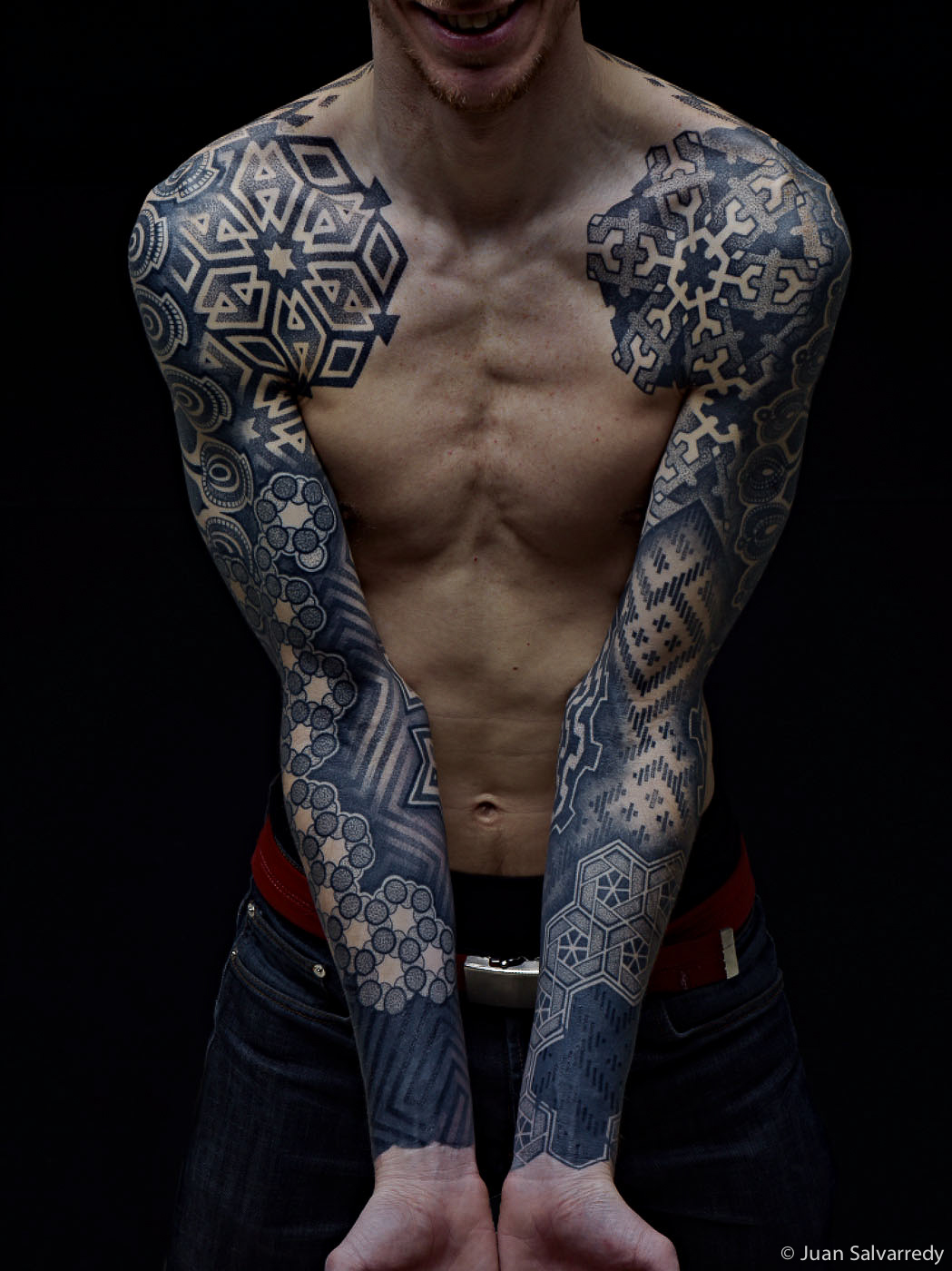 Blue Geometric Tattoo Sleeve