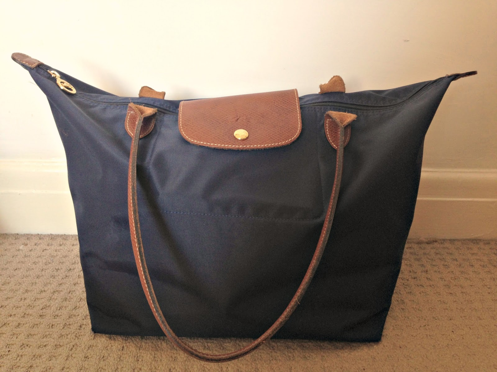 large navy longchamp le pliage