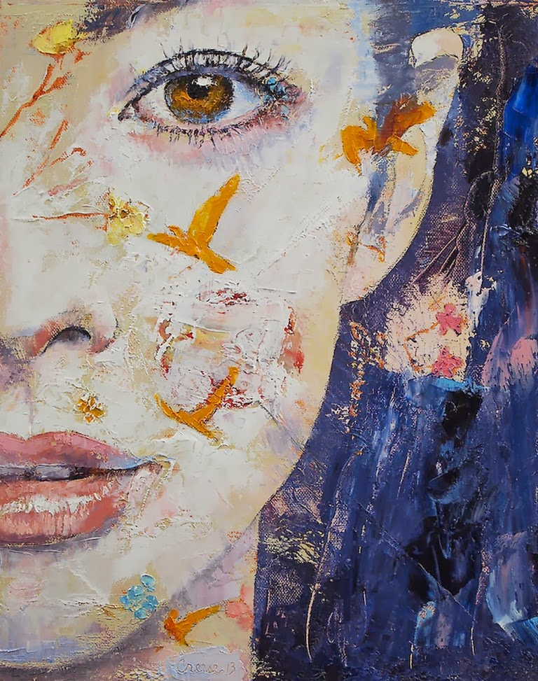 Pinturas cuadros lienzos retratos femeninos en abstractos pinturas de michael creese - Pinturas de moda ...