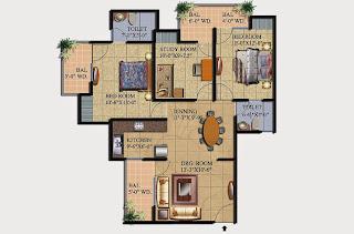 Livingston :: Floor Plans,Block C:-2 BHK (Type C2)2 Bedroom, 2 Toilet, Kitchen, Dining, Drawing, Study Room, 3 Balconies Super Area - 1320 Sq Ft