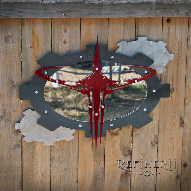 custom metal sign Quake III with mirror accent
