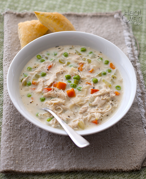 Chicken Pot Pie Soup ~ Heat Oven to 350