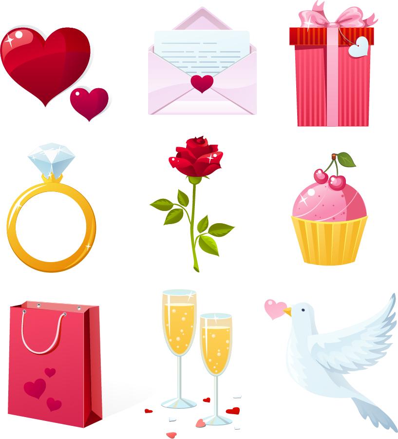 バレンタインデーのハート素材 Heart valentine day elements vector イラスト素材1